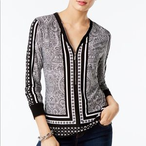 INC international Concepts Printed Zip-Up Top